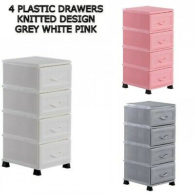 £24.99 • Buy 4 Tier Plastic Drawers Storage Unit Home Bathroom Chest Drawer Knitted Rattan