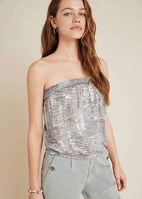 $ CDN31.46 • Buy Anthropologie Maiah Shimmer Tube Top Silver Size Large NWT