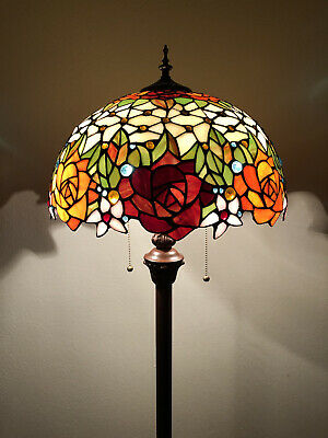 £167.02 • Buy Enjoy Tiffany Style Floor Lamp Rose Flowers Stained Glass Vintage EF1603 64H16W