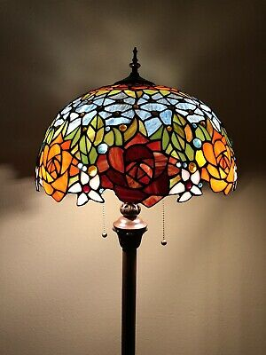 £174.28 • Buy Enjoy Tiffany Style Floor Lamp Rose Flowers Stained Glass Vintage EF1603-B 64H