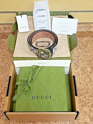 AU407.62 • Buy Gucci GG Supreme Belt With G Buckle In Original Box With Tags SZ 36 *Pre-owned