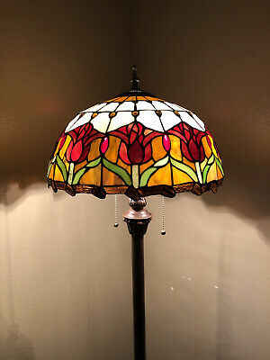 £149.59 • Buy Enjoy Tiffany Style Floor Lamp Tulip Flowers Stained Glass Vintage EF1657 64H16W