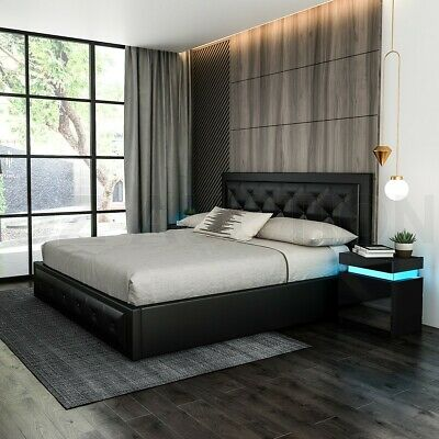 AU299.95 • Buy Modern Queen Size Wood Bed Frame PU Leather Gas Lift Storage Bed Base - Black