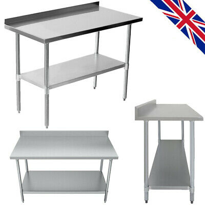 £87.99 • Buy Commercial Stainless Steel Top Kitchen Catering Work Table Chrome Heavy Duty UK