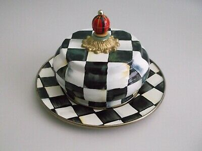 $56 • Buy Mackenzie Childs Courtly Check Butter House Dish Plate Dome Chess Pattern Enamel