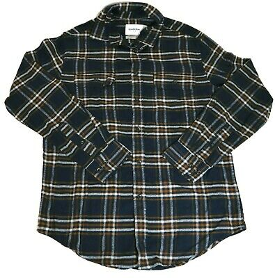 $12.70 • Buy Men's Standard Fit 2-pocket Flannel Long Sleeve Button-down Shirt - Navy S