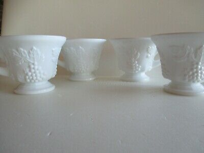 $8 • Buy Milk Glass Harvest Grape??? Pattern, 4 Footed Cups