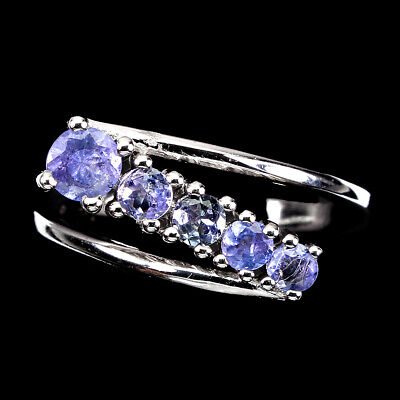 £0.72 • Buy Round Tanzanite 4.5mm 14K White Gold Plate 925 Sterling Silver Ring Size 7.5