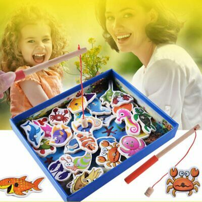 £9.89 • Buy Wooden Magnetic Fishing Game Rods & Fish Childrens Kids Wood Magnet Board Toys