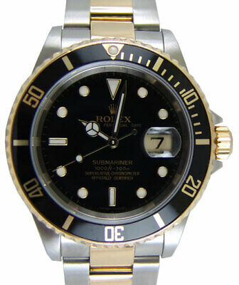 AU17596.30 • Buy ROLEX 40mm 18kt Gold & Stainless Submariner Black Dial No Holes 16613 SANT BLANC