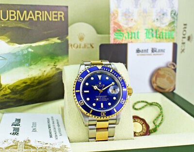 $ CDN17560.95 • Buy ROLEX 18kt Gold & SS Submariner SEL Blue Dial Box And Papers 16613 SANT BLANC
