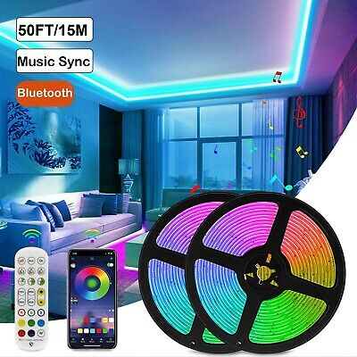 $19.99 • Buy 50ft LED Strip Lights 5050 RGB Music Sync Bluetooth For Rooms TV Bar Remote USPS
