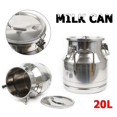 $92.01 • Buy 20L Heavy Duty Stainless Steel Can Milk Wine Pail Bucket Jug W/Silicone Seal NEW