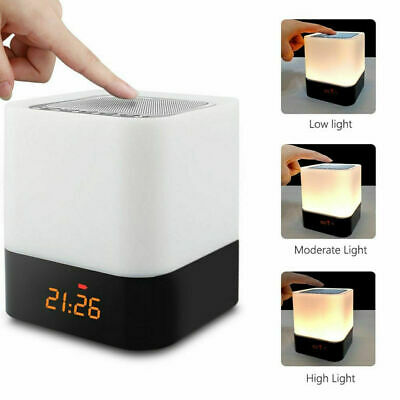 AU34.99 • Buy Dimmable Touch LED Night Light Lamp Alarm Clock Bluetooth Music Speaker