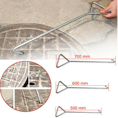 £12.59 • Buy Long Inspection Key For Lifting Heavy Manhole Cover Drain Cover Grid Hook Steel