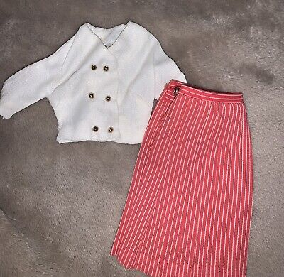 $ CDN34.39 • Buy Vintage 1960s Barbie  International Fair  White Top, Pleated Skirt CLOTHES ONLY