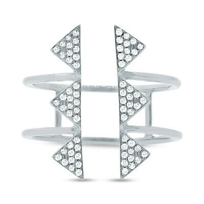 AU1328.88 • Buy 0.22CT 14K White Gold Natural Pave Diamond Triangle Open Space Wide Dainty Ring