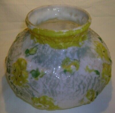 $19.99 • Buy Antique VTG Puffy White Milk Glass Lamp Shade 3D Yellow Flowers And Cobwebs