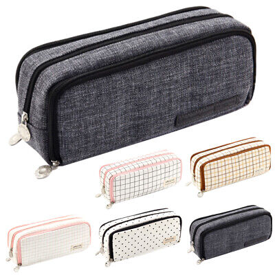 £6.89 • Buy Plaid/Polka Dot/Plain Pencil Case With 3 Compartments School Stationery Pouch