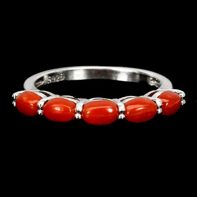 £0.72 • Buy Natural Oval Coral Italy 5x3mm 14K White Gold Plate 925 Sterling Silver Ring 7.5