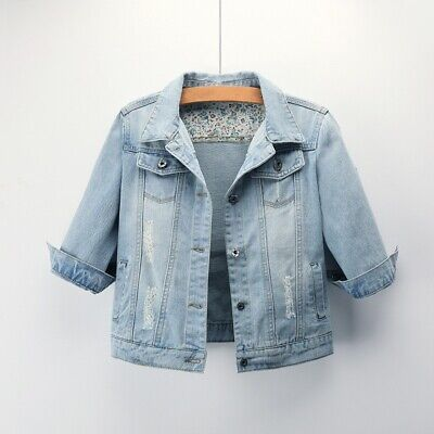 £21.49 • Buy Women Frayed Distressed Denim Jacket Ripped Coat Button Top Three-quarter Sleeve