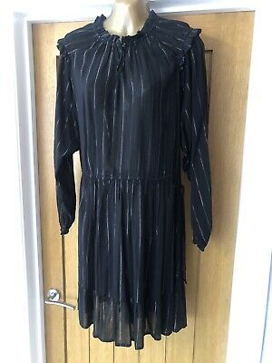 £9.99 • Buy Women's Fat Face Black Silver Striped Dress Size 14 Summer Work Casual Holiday