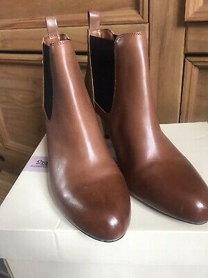 £25 • Buy Clarks BNWB Tan Leather High Heeled Chelsea Boots Uk 7D