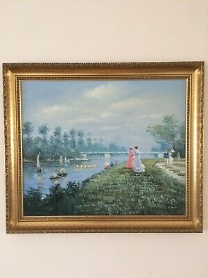 £800 • Buy Xavier Rabous -Romantic Party On Seine- Oil On Canvas Painting Wooden Frame