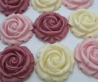 £4.90 • Buy 12 Edible Pink Ivory Sugar Flowers Roses Cake Cupcake Toppers Decorations