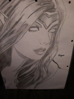 £8 • Buy League Of Legends Morgana Pencil Sketch, Signed, Laminated