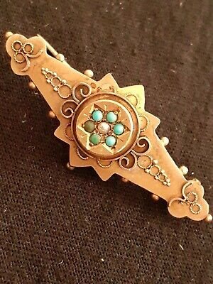 £12.71 • Buy 1898 9ct 375 Hallmarked Gold Brooch Pin Antique Pearl Turquoise Victorian 2.82g
