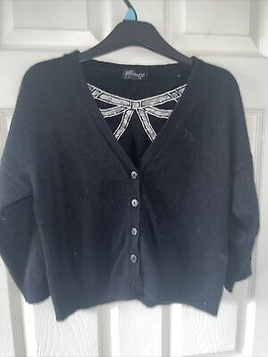 £4.99 • Buy Topshop Angora Black Cute Bow Cropped Cardigan Cardi Button Up Top 14