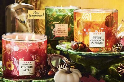 £26.99 • Buy New Bath And Body Works 3 Wick Candle Autumn Fall 2021 Collection