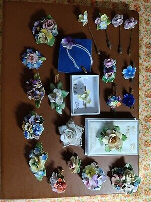 £20 • Buy 22*vintage Porcelain Jewellery Brooches, Stick Pins, Hand Painted