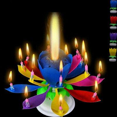 $ CDN6.89 • Buy Rotating Lotus Candle Birthday Cake Flower Musical Music Candles - 5 Colors