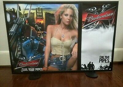 """$ CDN44.06 • Buy Budweiser """"Cool Your Pipes"""" Metal Framed Double-Sided Display Sign ~ 28""""x18.5"""""""
