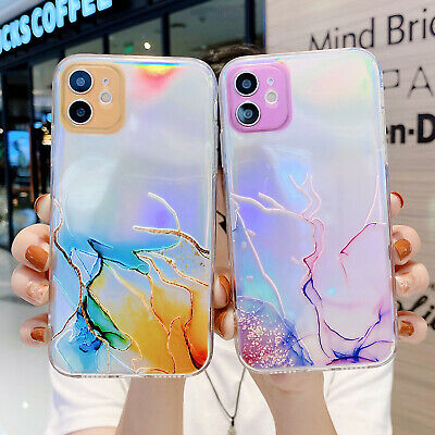 AU8.59 • Buy For IPhone 12 Pro Max 11 7 8 Plus XS XR Bling Marble TPU Slim Clear Case Cover