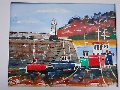 £20 • Buy Original Painting. Watercolour. St Ives. Harbour Boats. Cornwall. Mounted.