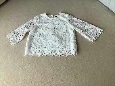 £12.99 • Buy Marks & Spencer Autograph White Cutwork Blouse Size 14