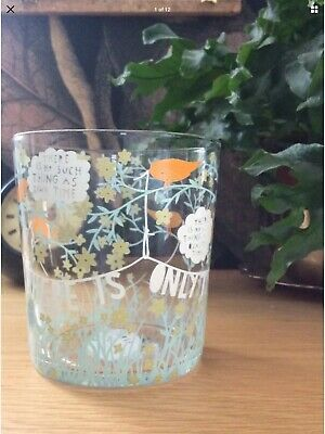 £60 • Buy Artist Rob Ryan : 2013 There Is Only Time Slogan Glass Tumbler Birds Banner Vase