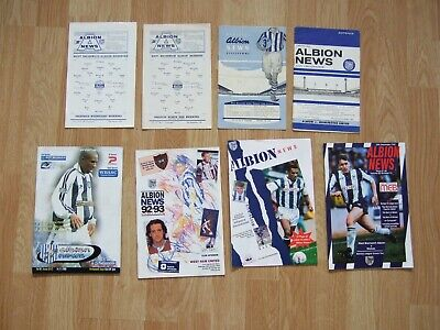 £7 • Buy 8 Wba West Brom Home Programmes From 1955 To 1999 Inc Reserve Issues