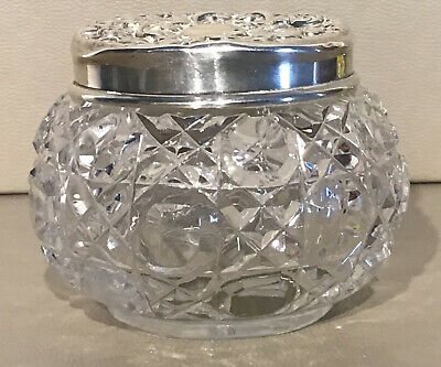 £19.89 • Buy EXC CUT GLASS Small TRINKET POT/JAR With HALLMARKED  Solid SILVER LID/TOP