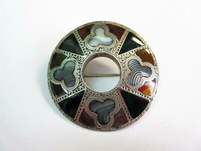 £16 • Buy Antique Victorian Large SCOTTISH SILVER & AGATE PEBBLE BROOCH, PIN - 23.9g!