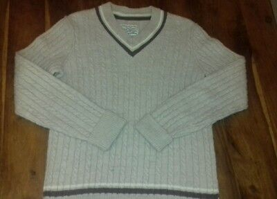 $27.95 • Buy 🌟All Saints Size S Cream Headingly Jumper Wool Cable Knit Mens Cricket Preppy