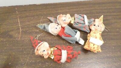 $ CDN62.93 • Buy 4 Vintage Japan Knee Hugging Elf Christmas Ornaments Colored Outfits W/ Stickers