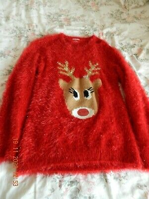 £8.99 • Buy Red Christmas Jumper With Rudolph On The Front Aged 13-14