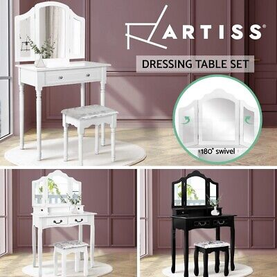 AU119.95 • Buy Artiss Dressing Table Stool Set Mirror Drawers Jewellery Cabinet Makeup White