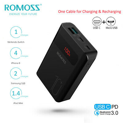 AU11.50 • Buy ROMOSS Power Bank 10000mAh 18W 3USB Type-C PD Portable Battery Charger For Phone