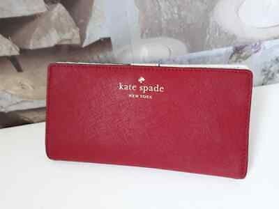 £21.99 • Buy * Kate Spade Mikas Pond Stacy Bifold Wallet Card Red Leather Purse WLRU1691