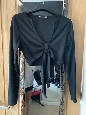 £0.99 • Buy PRETTYLITTLE THING Size 10 Tall Black Tie Front Ribbed Crop Top